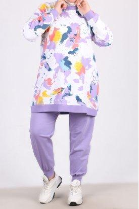 1937 Büyük Beden Batik Desen İki İplik Eşofman Takımı - Lila Renkli