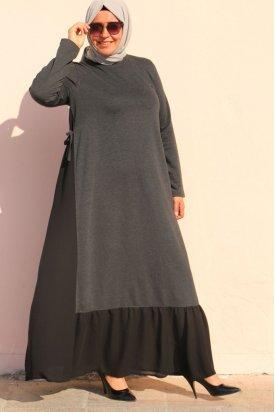 2069 Büyük Beden İki İplik Parçalı Elbise - Antrasit