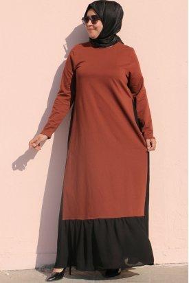2069 Büyük Beden İki İplik Parçalı Elbise - Kiremit