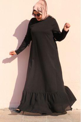 2069 Büyük Beden İki İplik Parçalı Elbise - Siyah