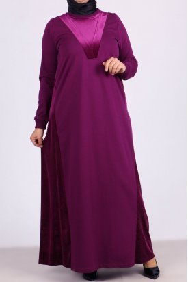 2071 Büyük Beden İki İplik Simli Kadife Detaylı Elbise-Mürdüm
