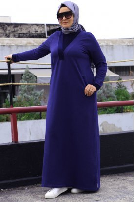 2072 Büyük Beden Simli Kadife Detaylı Elbise-Lacivert