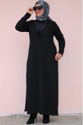 2072 Büyük Beden Simli Kadife Detaylı Elbise-Siyah