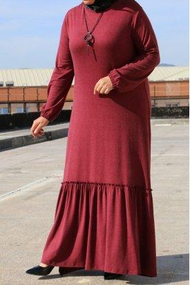 2073 Büyük Beden Yün Viskon Elbise-Kiremit