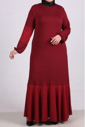 2085 Büyük Beden Kumaş Kombinli Penye Elbise-Bordo