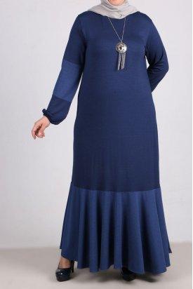 2085 Büyük Beden Kumaş Kombinli Penye Elbise-İndigo
