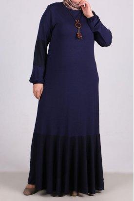2085 Büyük Beden Kumaş Kombinli Penye Elbise-Lacivert
