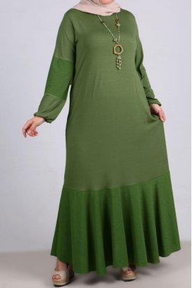 2085 Büyük Beden Kumaş Kombinli Penye Elbise-Yeşil