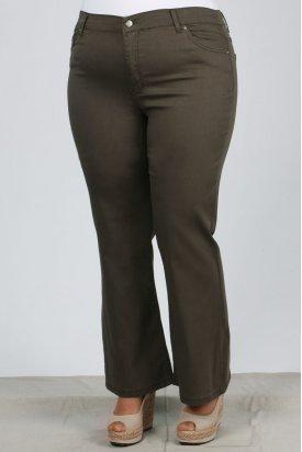 21115 Büyük Beden Likralı İspanyol Paça Gabardin Pantalon-Haki