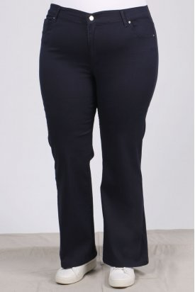 21115 Büyük Beden Likralı İspanyol Paça Gabardin Pantalon-Lacivert