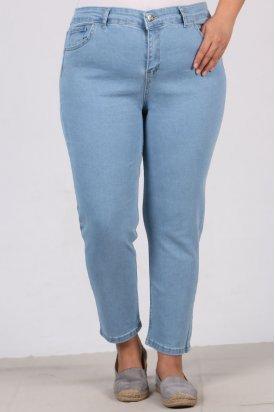 22112 Büyük Beden Full Likralı Dar Paça Kot Pantalon-Açık Mavi