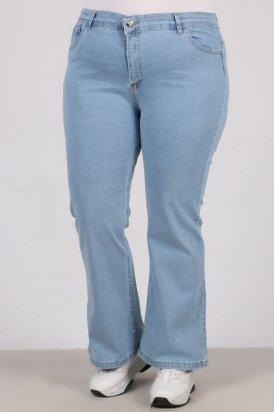 22142 Büyük Beden Full Likralı İspanyol Paça Kot Pantalon-Açık Mavi