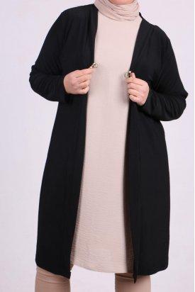 3145 Büyük Beden Önü Kopçalı Sandy Ceket -Siyah