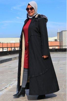 372 Büyük Beden Kuş Gözlü Detaylı Bondit Pardesü-Siyah