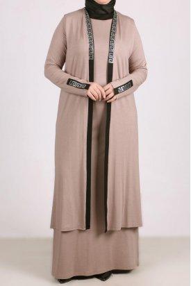 7211 Büyük Beden Taş Baskılı Penye Yelek-Elbise Takım - Vizon