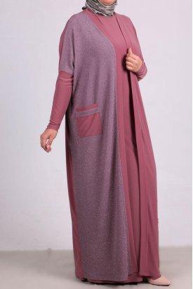 7213 Büyük Beden Sandy Ceket Elbise Takım - Gül Kurusu