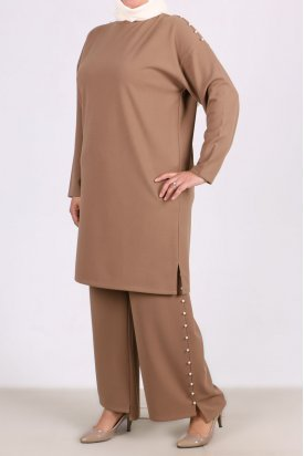 7667 Büyük Beden İnci Detaylı Pantalonlu Takım - Vizon