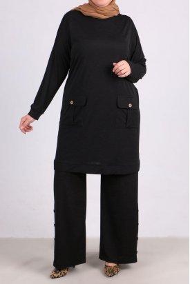 7687 Büyük Beden Mina Düğmeli Pantalonlu Takım - Siyah