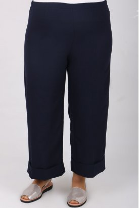 9028 Büyük Beden Beli Lastikli Duble Paça Pantolon - Lacivert