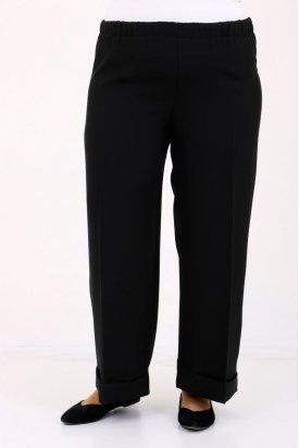 9028 Büyük Beden Beli Lastikli Duble Paça Pantolon - Siyah