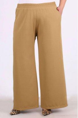9104 Büyük Beden Bol Paça Pantalon - Deve Tüyü