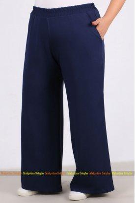 9104 Büyük Beden Bol Paça Pantalon - Lacivert
