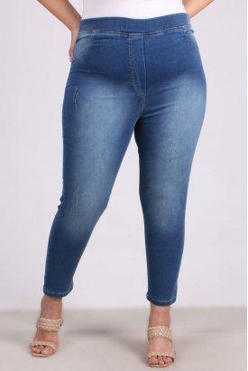 9109-10 Büyük Beden Beli Lastikli Tırnaklı  Dar Paça Kot Pantalon-Açık Mavi