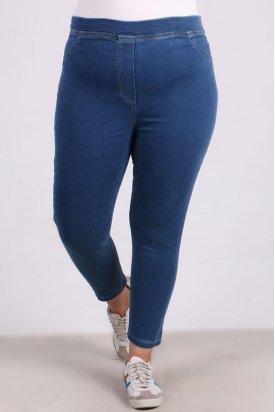 9109-8 Büyük Beden Beli Lastikli Dar Paça Kot Pantalon-Açık Mavi