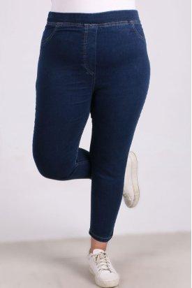 9109-8 Büyük Beden Beli Lastikli Dar Paça Kot Pantalon-Mavi
