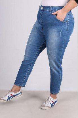 9125-1 Büyük Beden BoyFriend Tırnaklı Kot Pantolon-Mavi