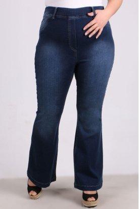 9137-1 Büyük Beden Beli Lastikli Taşlanmış İspanyol Paça Kot Pantalon-Açık Mavi