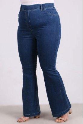 9137 Büyük Beden Beli Lastikli İspanyol Paça Kot Pantalon-Açık Mavi