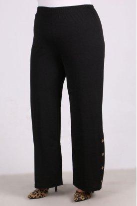 9145 Büyük Beden Mina Düğme Detaylı Pantalon- Siyah