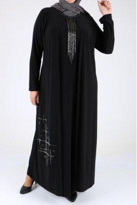 B40020-1 Büyük Beden Kendinden Kolyeli Sandy Elbise - Siyah