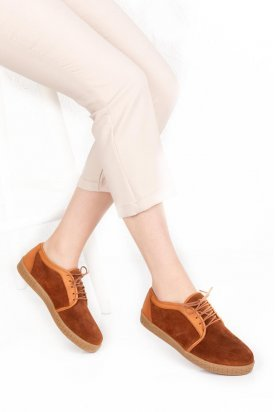 Gondol Hakiki Deri Süet Kadın Günlük Ayakkabı ert.155