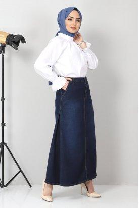 Yandan Pileli Kot Etek TSD22036 Koyu Mavi
